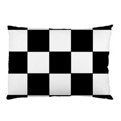 Grid Domino Bank And Black Pillow Case by Nexatart