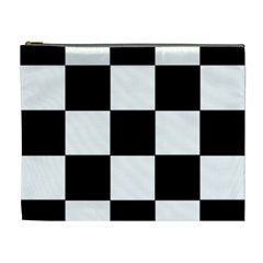Grid Domino Bank And Black Cosmetic Bag (xl)