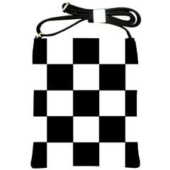Grid Domino Bank And Black Shoulder Sling Bags