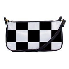 Grid Domino Bank And Black Shoulder Clutch Bags
