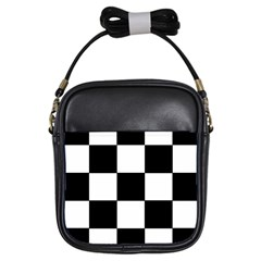 Grid Domino Bank And Black Girls Sling Bags by Nexatart