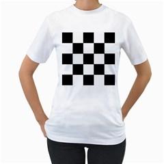 Grid Domino Bank And Black Women s T Shirt (white)