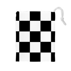 Grid Domino Bank And Black Drawstring Pouches (large)  by Nexatart