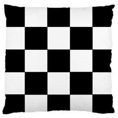 Grid Domino Bank And Black Large Flano Cushion Case (two Sides) by Nexatart
