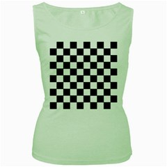 Grid Domino Bank And Black Women s Green Tank Top
