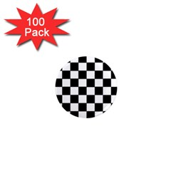Grid Domino Bank And Black 1  Mini Magnets (100 Pack)