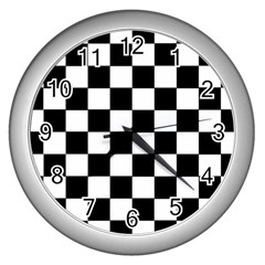 Grid Domino Bank And Black Wall Clocks (silver)