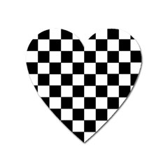 Grid Domino Bank And Black Heart Magnet by Nexatart