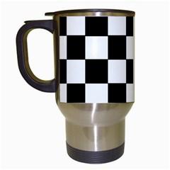 Grid Domino Bank And Black Travel Mugs (white)