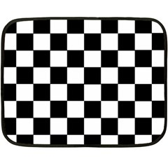 Grid Domino Bank And Black Double Sided Fleece Blanket (mini)  by Nexatart