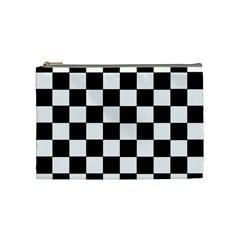 Grid Domino Bank And Black Cosmetic Bag (medium)