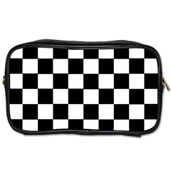 Grid Domino Bank And Black Toiletries Bags