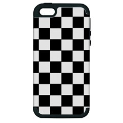 Grid Domino Bank And Black Apple Iphone 5 Hardshell Case (pc+silicone)