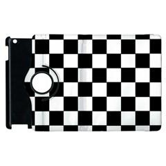 Grid Domino Bank And Black Apple Ipad 2 Flip 360 Case by Nexatart