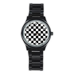 Grid Domino Bank And Black Stainless Steel Round Watch