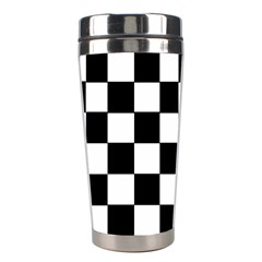 Grid Domino Bank And Black Stainless Steel Travel Tumblers by Nexatart