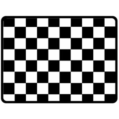 Grid Domino Bank And Black Double Sided Fleece Blanket (large)  by Nexatart
