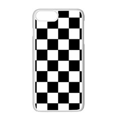 Grid Domino Bank And Black Apple Iphone 7 Plus White Seamless Case