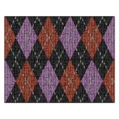 Knit Geometric Plaid Fabric Pattern Rectangular Jigsaw Puzzl by paulaoliveiradesign