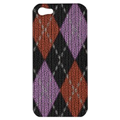 Knit Geometric Plaid Fabric Pattern Apple Iphone 5 Hardshell Case by paulaoliveiradesign