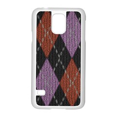 Knit Geometric Plaid Fabric Pattern Samsung Galaxy S5 Case (white) by paulaoliveiradesign