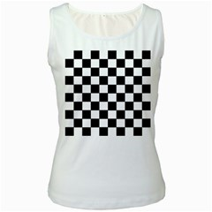 Grid Domino Bank And Black Women s White Tank Top