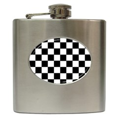 Grid Domino Bank And Black Hip Flask (6 Oz)