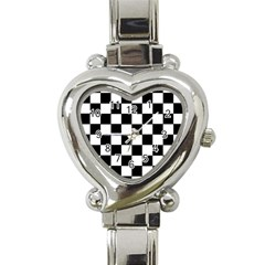 Grid Domino Bank And Black Heart Italian Charm Watch by Nexatart