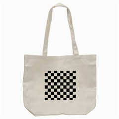 Grid Domino Bank And Black Tote Bag (cream) by Nexatart