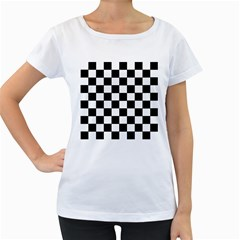 Grid Domino Bank And Black Women s Loose Fit T Shirt (white)