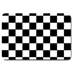Grid Domino Bank And Black Large Doormat