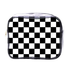 Grid Domino Bank And Black Mini Toiletries Bags by Nexatart