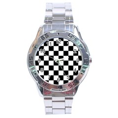 Grid Domino Bank And Black Stainless Steel Analogue Watch