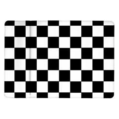 Grid Domino Bank And Black Samsung Galaxy Tab 10 1  P7500 Flip Case by Nexatart