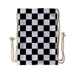 Grid Domino Bank And Black Drawstring Bag (small)