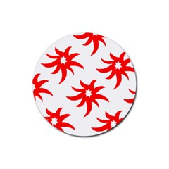 Star Figure Form Pattern Structure Rubber Round Coaster (4 Pack)