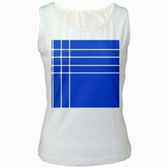 Stripes Pattern Template Texture Blue Women s White Tank Top