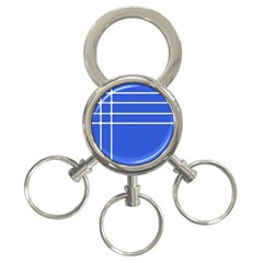 Stripes Pattern Template Texture Blue 3 Ring Key Chains