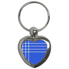 Stripes Pattern Template Texture Blue Key Chains (heart)  by Nexatart