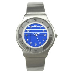 Stripes Pattern Template Texture Blue Stainless Steel Watch by Nexatart