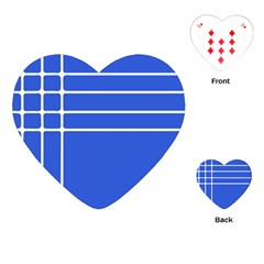 Stripes Pattern Template Texture Blue Playing Cards (heart)