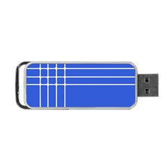 Stripes Pattern Template Texture Blue Portable Usb Flash (two Sides)