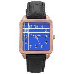 Stripes Pattern Template Texture Blue Rose Gold Leather Watch  by Nexatart