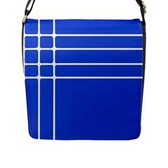 Stripes Pattern Template Texture Blue Flap Messenger Bag (l)
