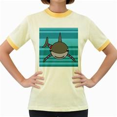 Shark Sea Fish Animal Ocean Women s Fitted Ringer T Shirts