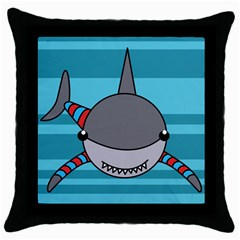 Shark Sea Fish Animal Ocean Throw Pillow Case (black)