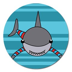 Shark Sea Fish Animal Ocean Magnet 5  (round) by Nexatart