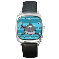 Shark Sea Fish Animal Ocean Square Metal Watch by Nexatart