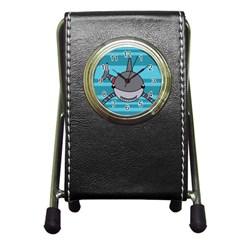 Shark Sea Fish Animal Ocean Pen Holder Desk Clocks