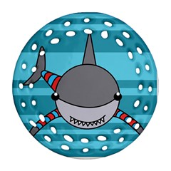 Shark Sea Fish Animal Ocean Round Filigree Ornament (two Sides)